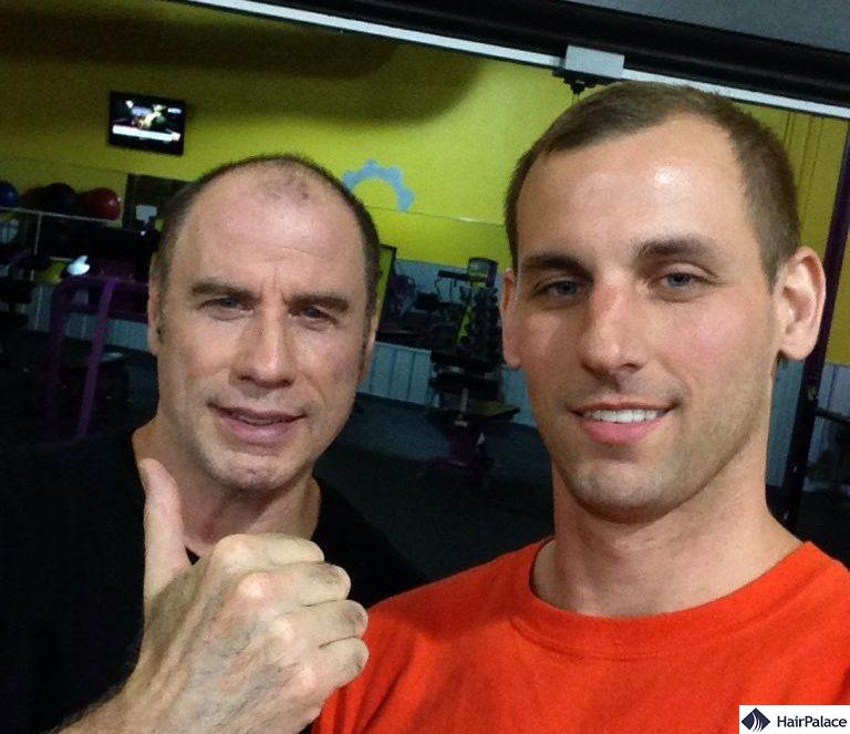 Candid fan photo showing the extent of John Travolta's hair loss
