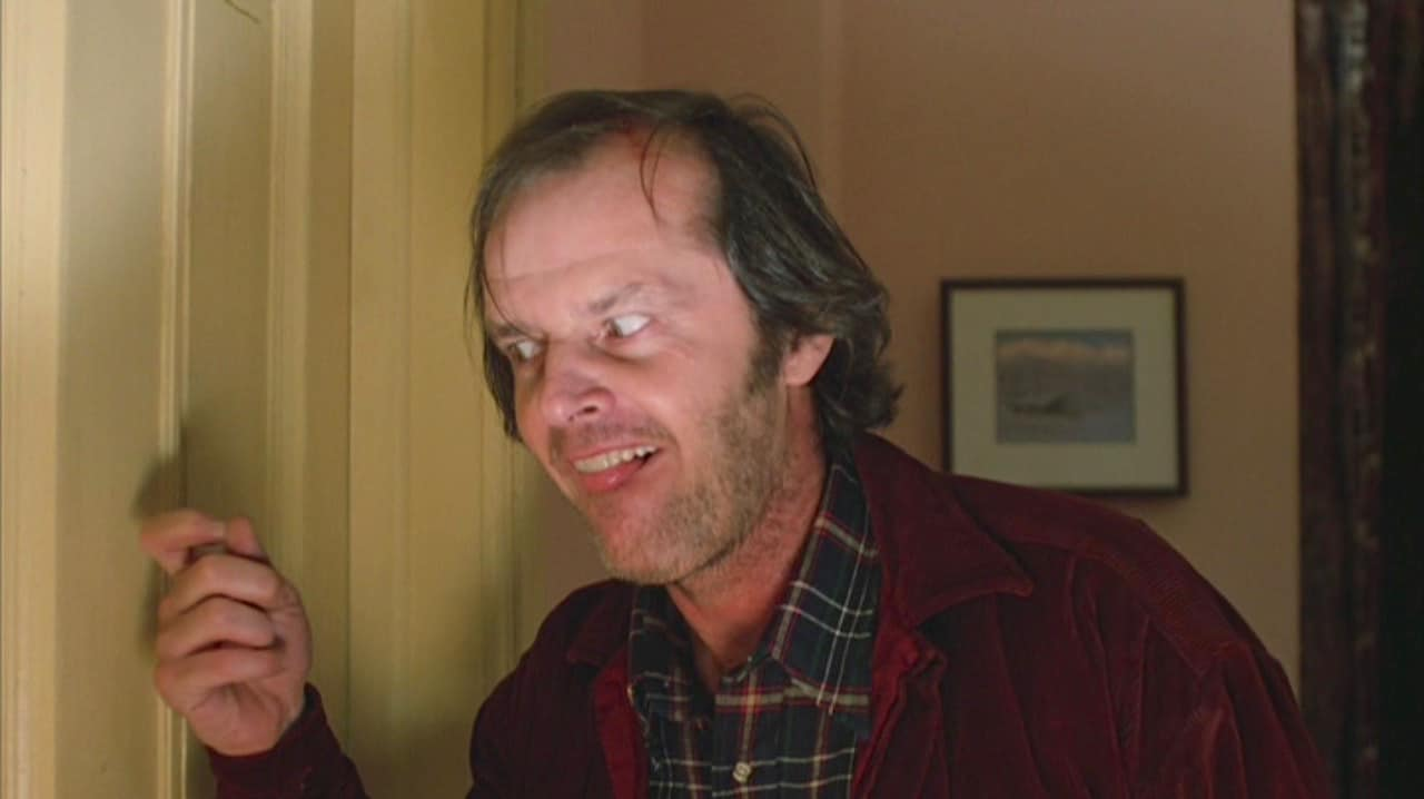 Jack Nicholson's mature hairline in the movie Shining