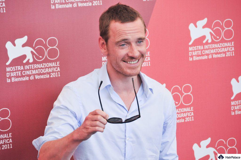 Michael Fassbender's visible mature hairline
