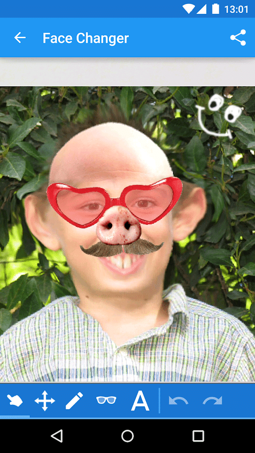 Face changer funny baldness app