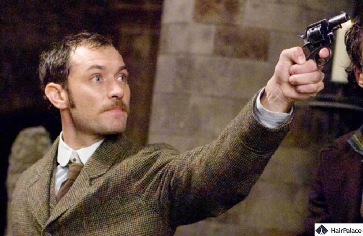 Jude Law's mature hairline in the Sherlock Holmes movie