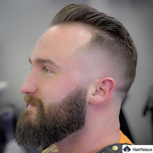 Receding hairline skin fade pompadour