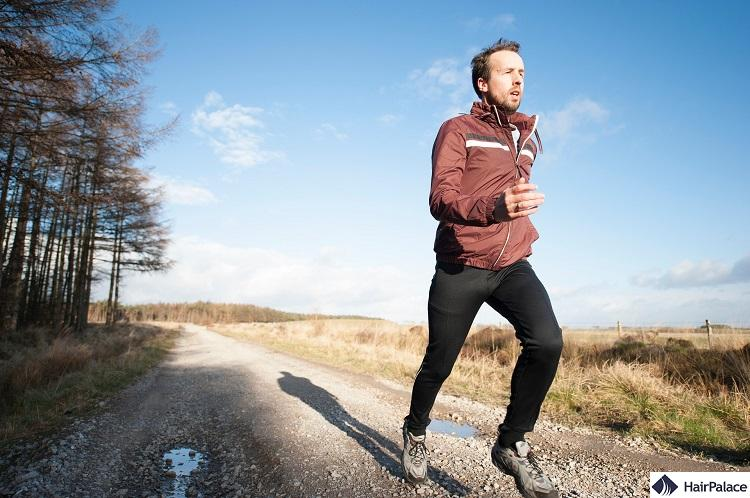 exercising or running regularly can help healthy hair growth, leading to less hair loss